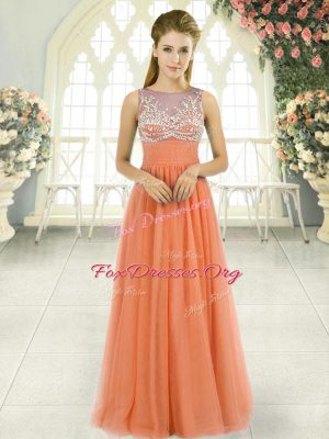 Orange Tulle Backless Evening Outfits Sleeveless Floor Length Beading