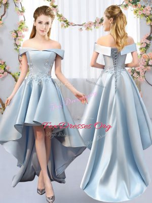 A-line Vestidos de Damas Light Blue Off The Shoulder Satin Sleeveless High Low Lace Up