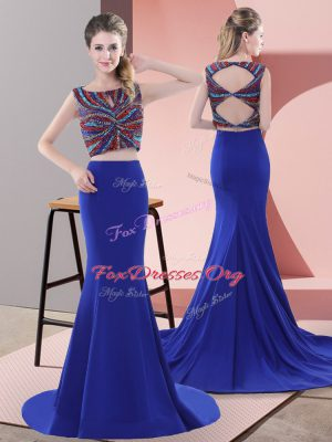 Great Royal Blue Sleeveless Satin Sweep Train Lace Up Formal Dresses for Prom and Party