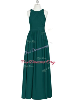 Comfortable Dark Green Column/Sheath Scoop Sleeveless Chiffon Floor Length Zipper Ruching Dress for Prom