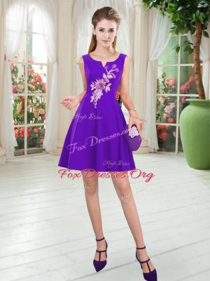 Purple A-line Scoop Sleeveless Satin Mini Length Zipper Appliques Prom Gown