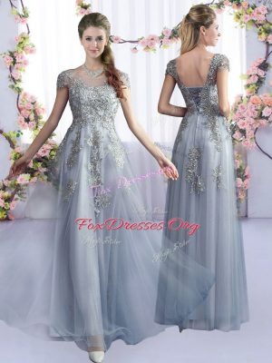 Stylish Grey Lace Up Bridesmaid Gown Lace Cap Sleeves Floor Length