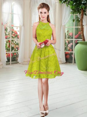 Ideal Light Yellow A-line Scoop Sleeveless Knee Length Zipper Lace Prom Party Dress
