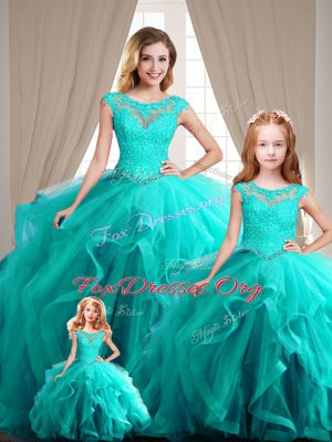 New Arrival Aqua Blue Lace Up Scoop Cap Sleeves Vestidos de Quinceanera Beading
