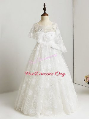 Lovely Floor Length Lace Side Zipper Flower Girl Dress with White