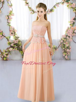 Spectacular Peach Empire Chiffon Strapless Sleeveless Lace and Belt Floor Length Lace Up Dama Dress