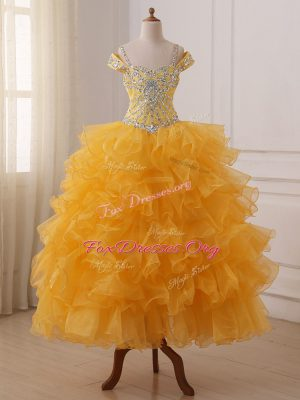 Sweet Gold Sleeveless Floor Length Beading and Ruffled Layers Lace Up Kids Formal Wear