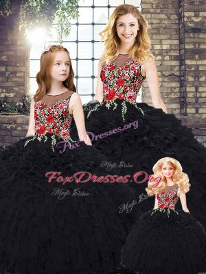 High Quality Black Sleeveless Organza Zipper Quinceanera Gown for Military Ball and Sweet 16