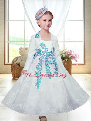 White Lace Zipper Flower Girl Dresses Sleeveless Ankle Length Embroidery