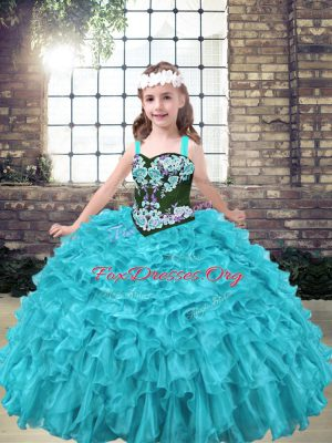 Sleeveless Lace Up Floor Length Embroidery and Ruffles Kids Pageant Dress