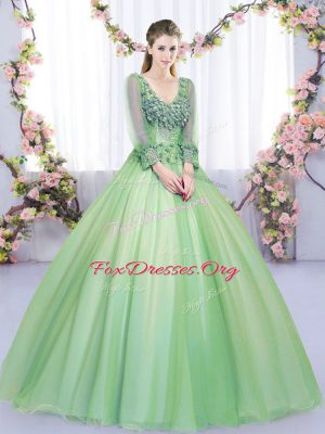 Best Floor Length Ball Gowns Long Sleeves Green Quinceanera Gown Lace Up