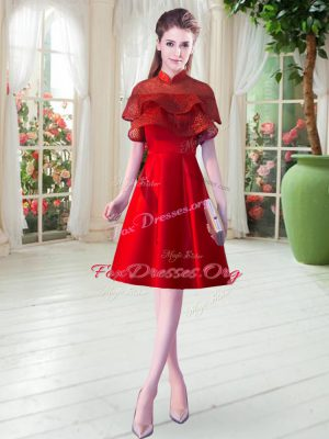 Red Cap Sleeves Satin Zipper Prom Dress for Prom and Party and Wedding Party