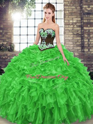High Class Ball Gowns Sleeveless Quinceanera Gown Sweep Train Lace Up
