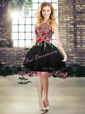 Mini Length Lace Up Prom Dress Black for Prom and Party with Embroidery