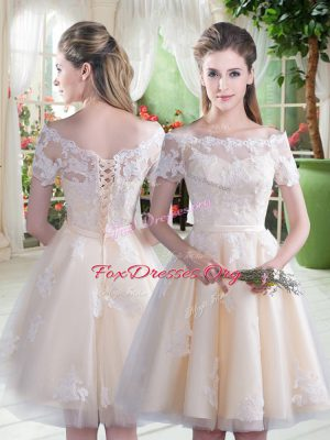 Chic Champagne Lace Up Prom Dress Lace Short Sleeves Knee Length