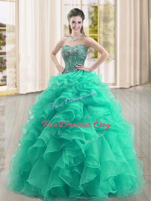 Excellent Turquoise Sleeveless Beading and Ruffles Floor Length Sweet 16 Dresses