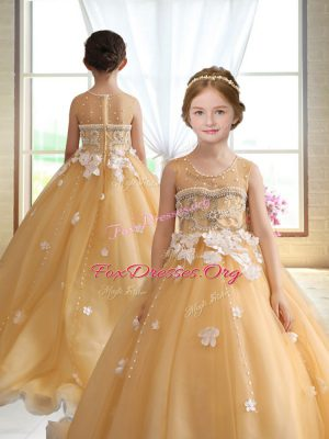 Gold Organza Zipper Kids Formal Wear Sleeveless Brush Train Beading and Appliques