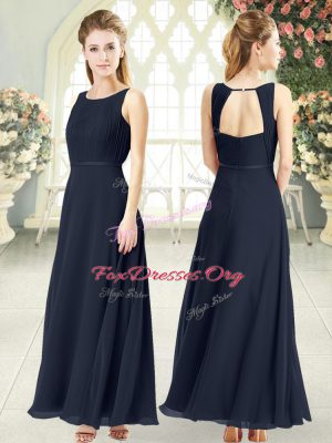 Sleeveless Chiffon Ankle Length Zipper in Black with Ruching