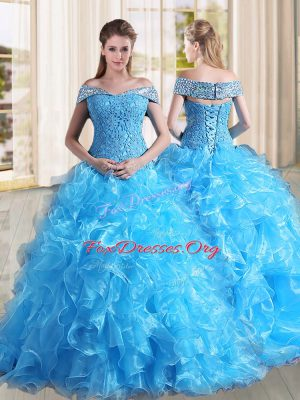 Baby Blue Sleeveless Organza Sweep Train Lace Up Quince Ball Gowns for Military Ball and Sweet 16 and Quinceanera
