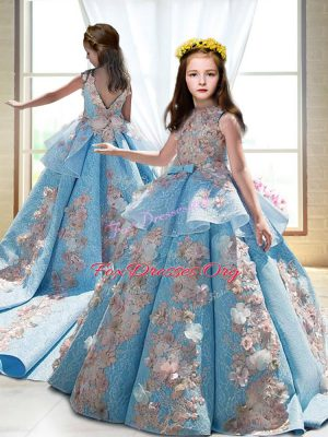 Stunning Blue Sleeveless Appliques Backless Kids Formal Wear