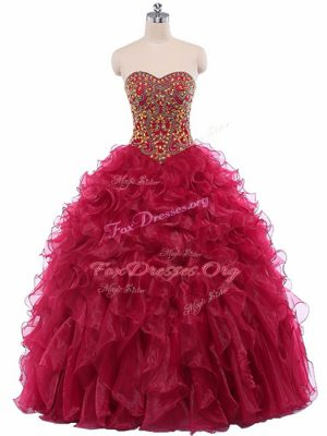 Wine Red Sweetheart Lace Up Beading and Ruffles Sweet 16 Quinceanera Dress Sleeveless