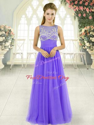 Sumptuous Lavender Sleeveless Tulle Side Zipper Prom Gown for Prom and Party and Military Ball