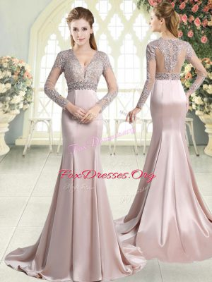 Pink Evening Gowns V-neck Long Sleeves Sweep Train Zipper