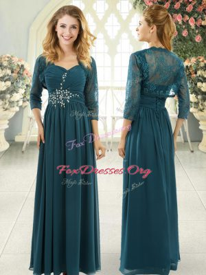 Teal Chiffon Zipper Evening Dress Short Sleeves Sweep Train Beading and Ruching