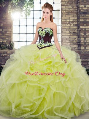 Sweep Train Ball Gowns Quinceanera Dresses Yellow Green Sweetheart Tulle Sleeveless Lace Up