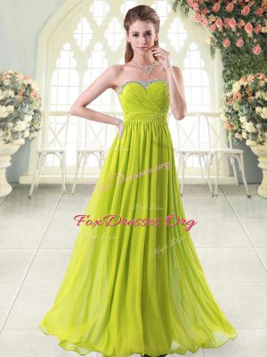 Yellow Green Sweetheart Zipper Beading Evening Dress Sleeveless