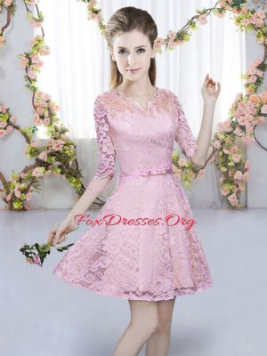Lovely Pink Half Sleeves Lace Zipper Quinceanera Dama Dress for Prom and Party
