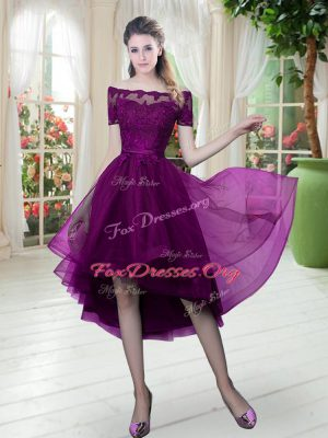 Elegant Purple Lace Up Off The Shoulder Lace Tulle Short Sleeves