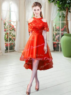 Popular Rust Red Tulle Zipper Prom Gown Short Sleeves High Low Lace