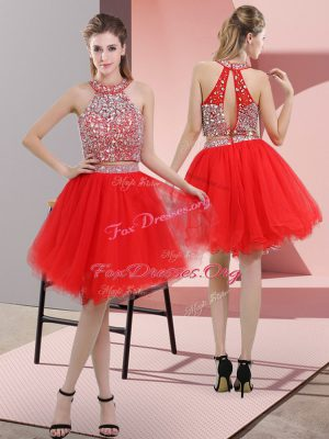 Sleeveless Backless Knee Length Beading