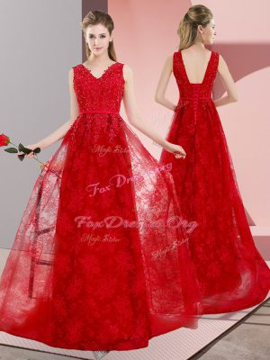 Comfortable Lace Up Formal Evening Gowns Red for Prom and Party and Military Ball with Beading Sweep Train