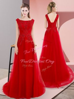 Sleeveless Sweep Train Lace Up Beading and Appliques Evening Dress