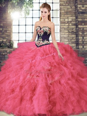 Designer Hot Pink Sleeveless Floor Length Beading and Embroidery Lace Up Sweet 16 Dresses