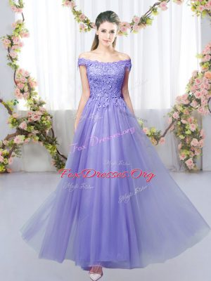 Floor Length Lavender Quinceanera Dama Dress Off The Shoulder Sleeveless Lace Up