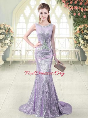 Sequined Scoop Sleeveless Brush Train Zipper Beading Prom Gown in Lavender