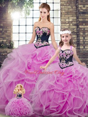 Sophisticated Sleeveless Embroidery and Ruffles Lace Up Quinceanera Gown with Lilac Sweep Train