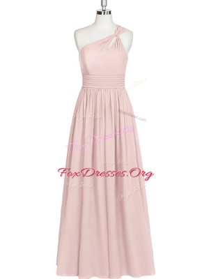 Customized Baby Pink Side Zipper One Shoulder Ruching Prom Evening Gown Chiffon Sleeveless