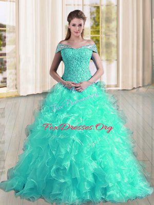 Turquoise Lace Up Sweet 16 Dresses Beading and Lace and Ruffles Sleeveless Sweep Train