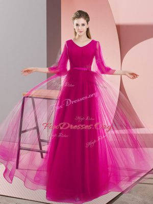 Floor Length Pink and Fuchsia Prom Evening Gown V-neck Long Sleeves Zipper