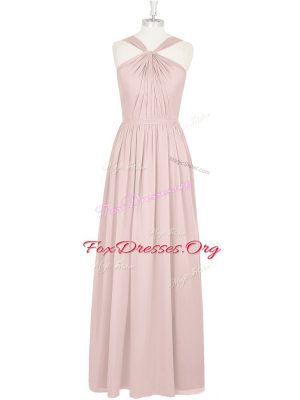 Enchanting Pink Chiffon Zipper Halter Top Sleeveless Floor Length Prom Party Dress Pleated