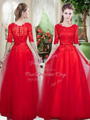 Half Sleeves Tulle Floor Length Lace Up Evening Outfits in Red with Lace