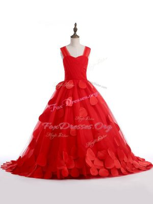 Cute Straps Sleeveless Tulle Kids Pageant Dress Appliques Brush Train Lace Up
