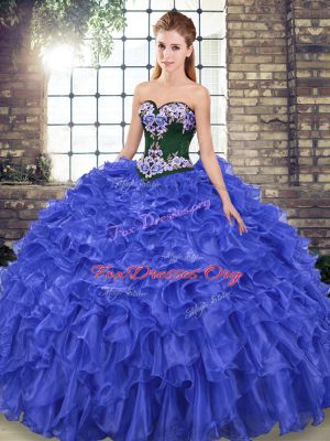 Lace Up Ball Gown Prom Dress Royal Blue for Military Ball and Sweet 16 and Quinceanera with Embroidery and Ruffles Sweep Train