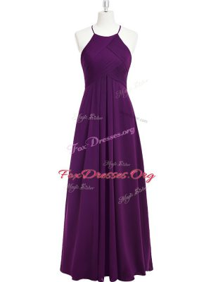 Smart Purple Sleeveless Chiffon Zipper Homecoming Dress for Prom and Party