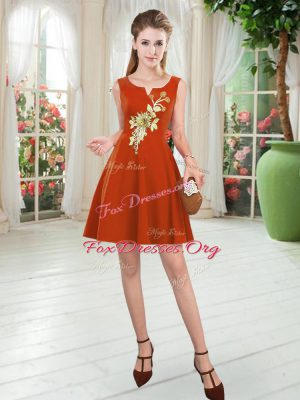Dramatic Rust Red Sleeveless Satin Zipper Prom Dresses for Prom and Party