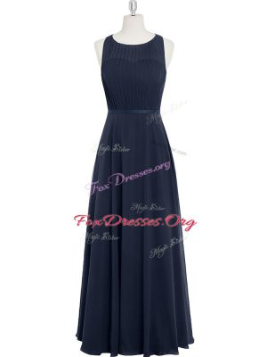 Lovely Floor Length Zipper Prom Dresses Black for Prom and Party and Military Ball with Ruching